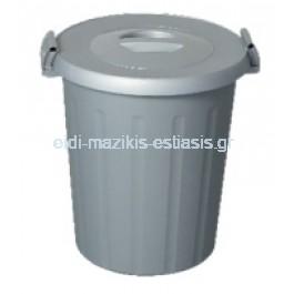 Δοχείο (Κάδος) Πολλαπλής Χρήσης 25lt 40x48cm Επαγγελματικός Πλαστικός Με Καπάκι Και Κλιπς 0,800kg Γκρι