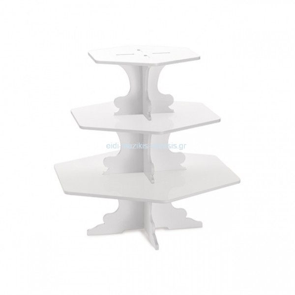 Cake Stand 3 Επιπέδων Φ 30 x H30cm High Gloss White Plexiglass